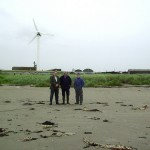 Cllr Cadogan Enright on the beach at Carsons farm with Edward Carson and Paddy Flynn