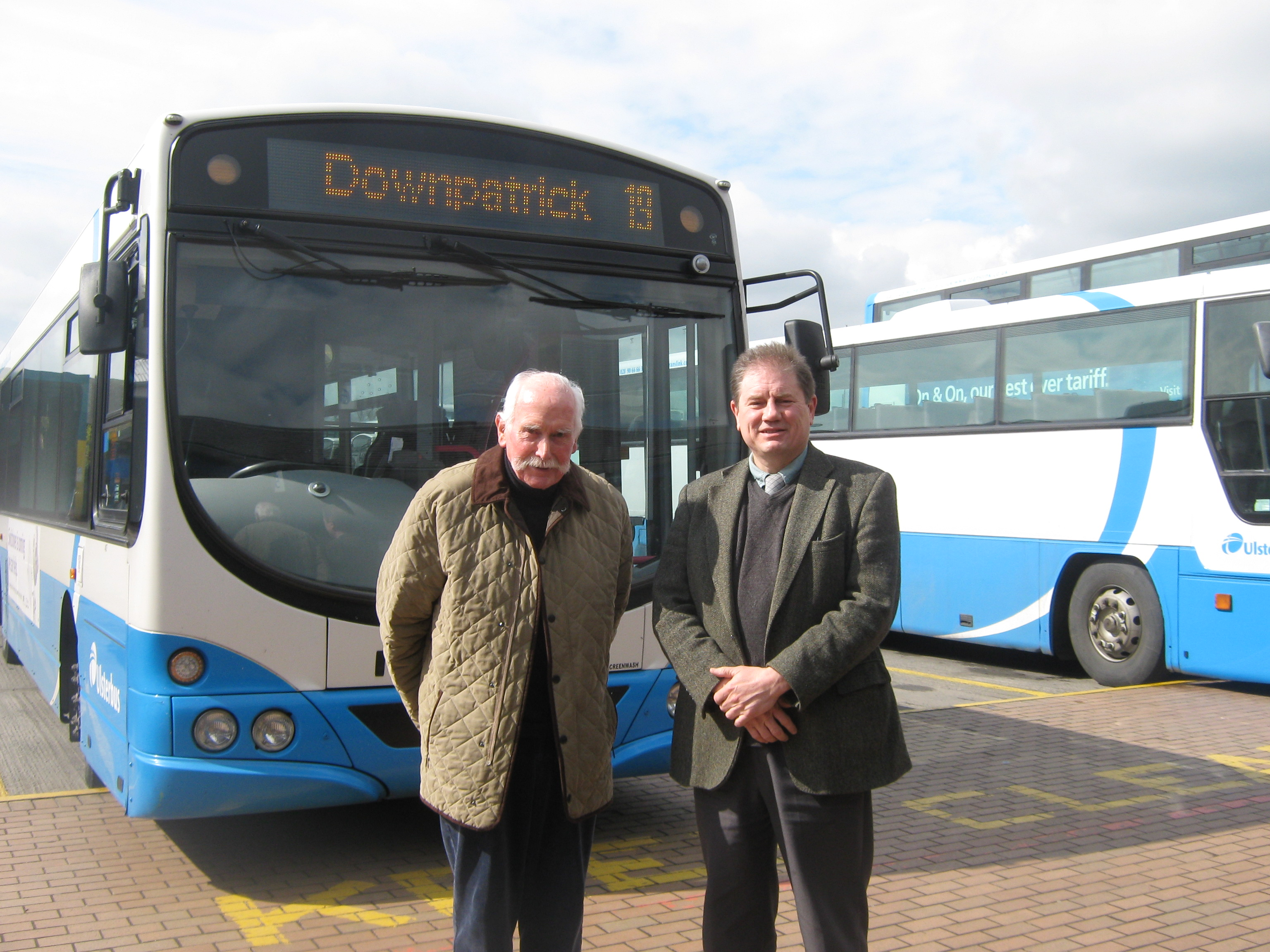 Down Comminty Health campaigner Dick Shannon and Cllr Cadogan Enright at Downpatrick Bus Station
