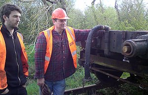 Down Railway Volunteer Johnathan Bridle with Cllr Cadogan Enright