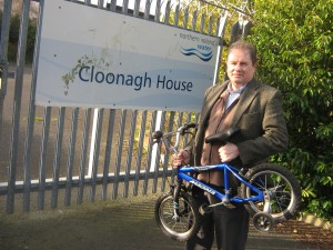 Attached is a photograph of Cllr Cadogan Enright at the proposed new site with a child's bicycle that was about to be thrown into a skip at the Clooney Road Civic Amenity Center