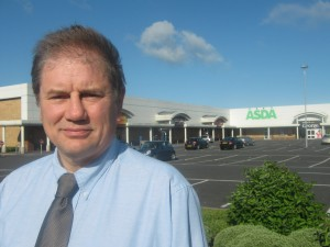 Cllr Cadogan Enright at the location of the old ASDA recycling centre