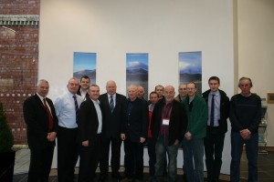 John McCallister at DDC's new HQ surrounded by localal farmers accompanied by Cllrs Des Patterson and Robert Burgess. Elliot Bell of the UFU is on far right.