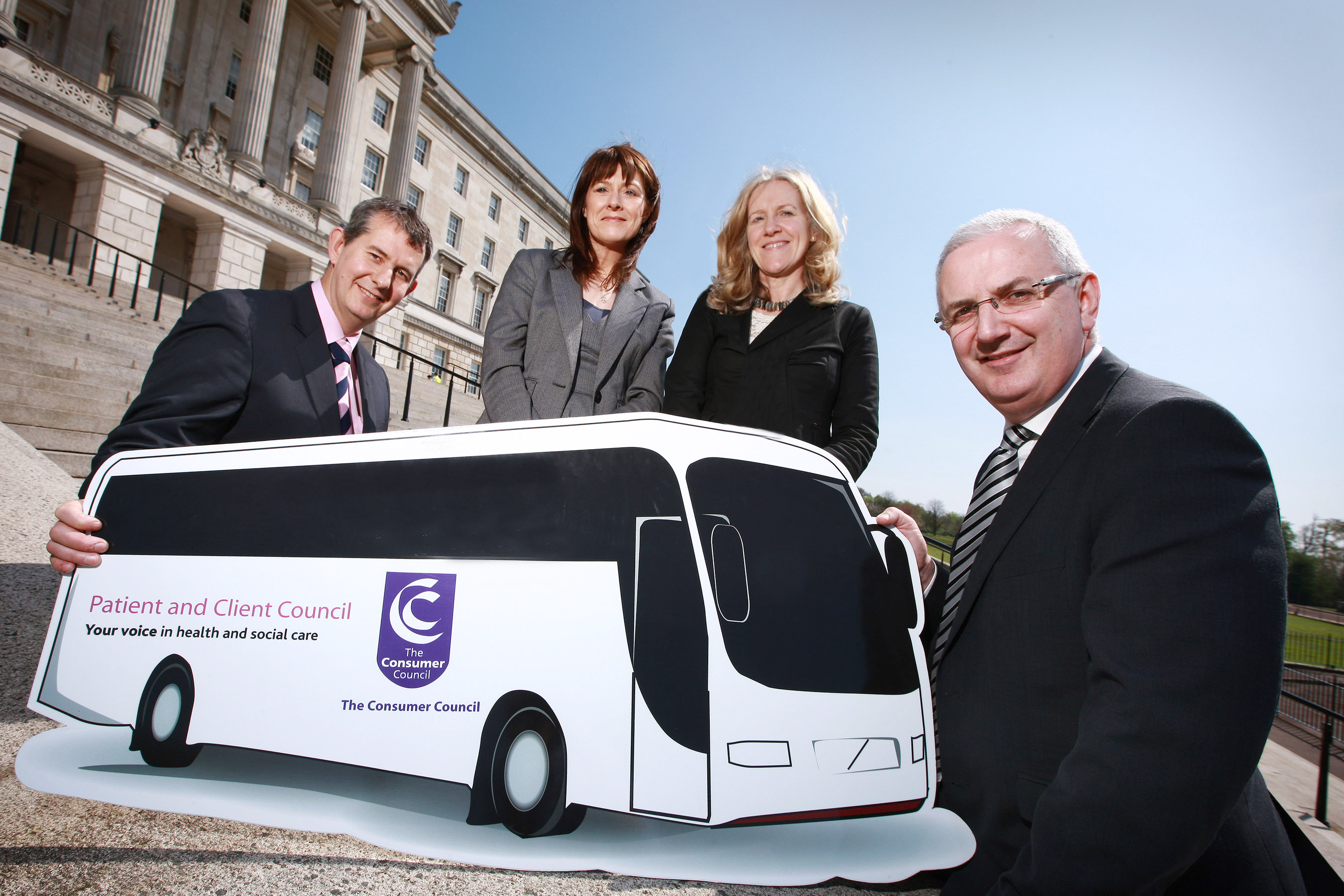 Pictured at the launch of the Transport Issues in Accessing Health and Social Services Report are Edwin Poots, Minister for Health, Social Services and Public Safety; Antoinette McKeown, Chief Executive of the Consumer Council ; Maeve Hully, Chief Executive of the Patient and Client Council and Danny Kennedy, Minister for Regional Development.