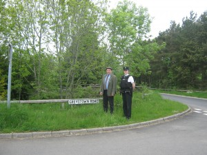 Cllr Cadogan Enright with PSNI offer Owens at Scaddy Road - Greystown Road cross Roads