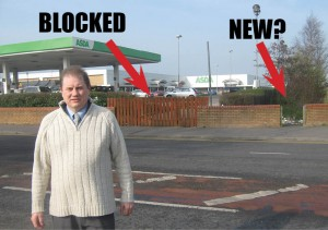 The attached picture shows the location of the blocked footpath as well as the 'new' footpath whose reopening is sought by staff, shopper and the retailers themselves at the shopping complex.