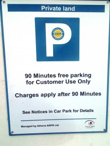 LIDL CAR PARK SIGN - THERE IS NO WAY A CUSTOMER COULD KNOW THAT YOU CAN'T PARK HERE AT NIGHT