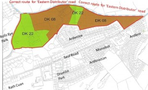 This picture shows the impact on the Saul Road of these developments without the new road being implemented