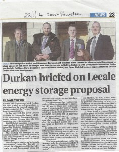 Leading energy storage project discussed between Cllr Enright, Environmental minister Durkan and leaders of the Ulster Farmers union and DDFFRE.